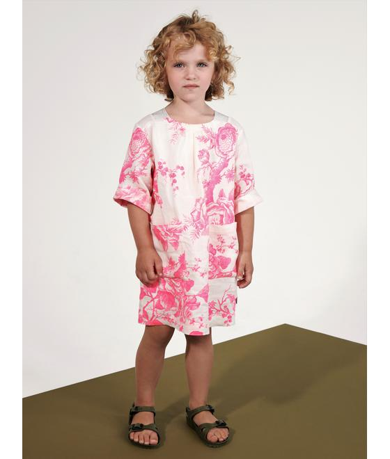 Oilily Douwe short sleeves dress 02 rose branch flower pink YS19GDR203