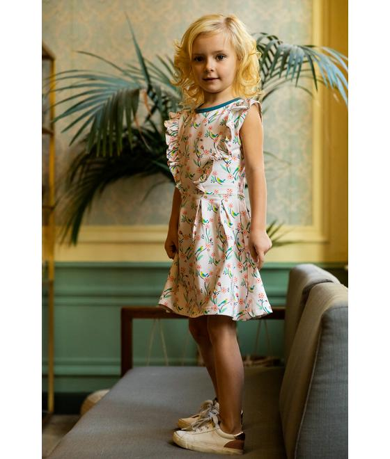 Baba babywear Ruffle dress Birds S20 Jersey single lycra AOP