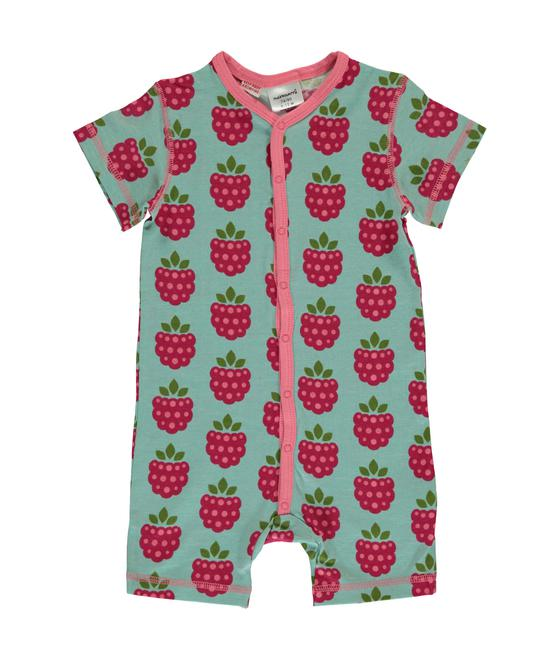 Maxomorra Rompersuit Button Raspberry 7314500021070 M343-D3215