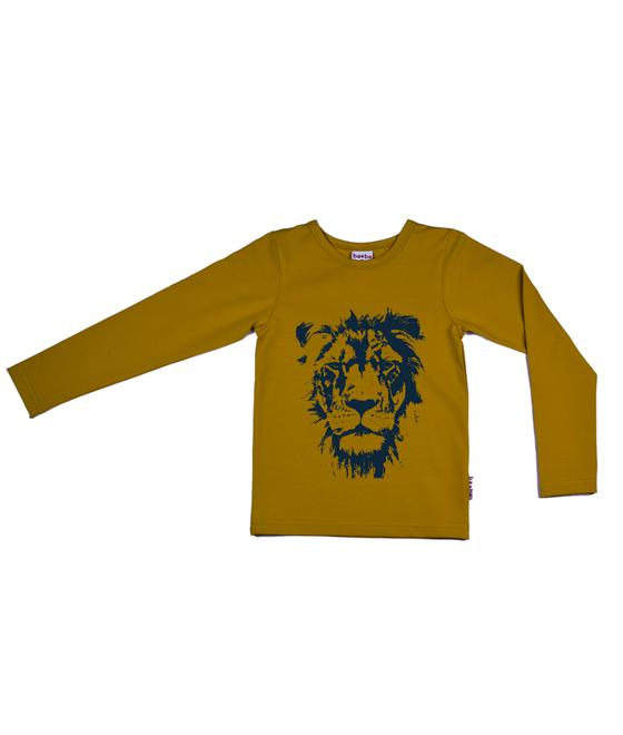 longsleeve lion yellow 2fleece lycra screenprint