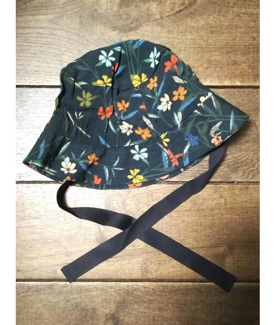 Kik*kid Hat Tiba black flower viscose print S19 HTR 53s 946