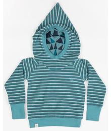 Habian hood blouse tapestry striped