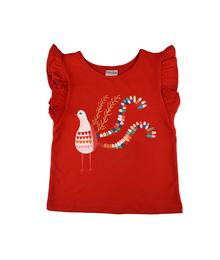 Baba babywear Ruffle Shirt Bird Red S19 jersey single lycra plain