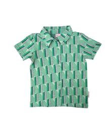 Baba babywear Boys Shirt Short Sleeves Jacquard green stripes S19 Jacquard