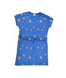 Baba babywear V-neck dress Tulip Gold darkblue S19 jersey single lycra screenprint