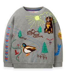 Oilily Heritage sweater 90 grey melee with embroidery YF19GHJ20490